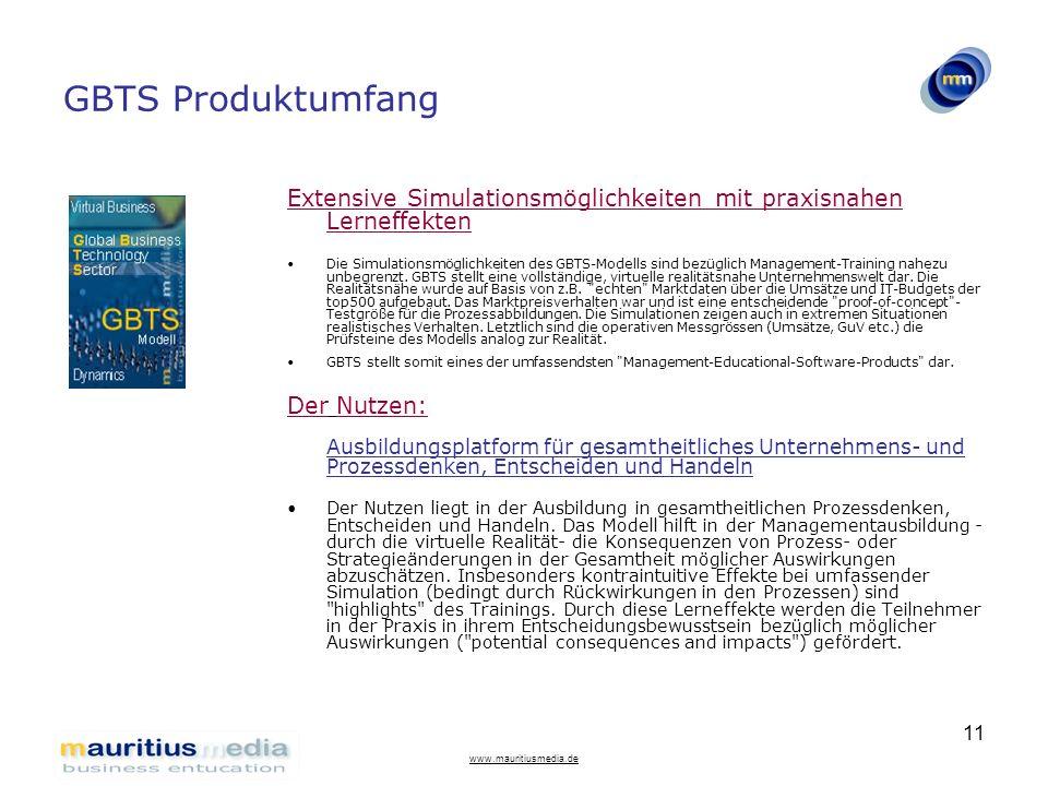 www.mauritiusmedia.de 11 GBTS Produktumfang Extensive Simulationsmöglichkeiten mit praxisnahen Lerneffekten Die Simulationsmöglichkeiten des GBTS-Mode