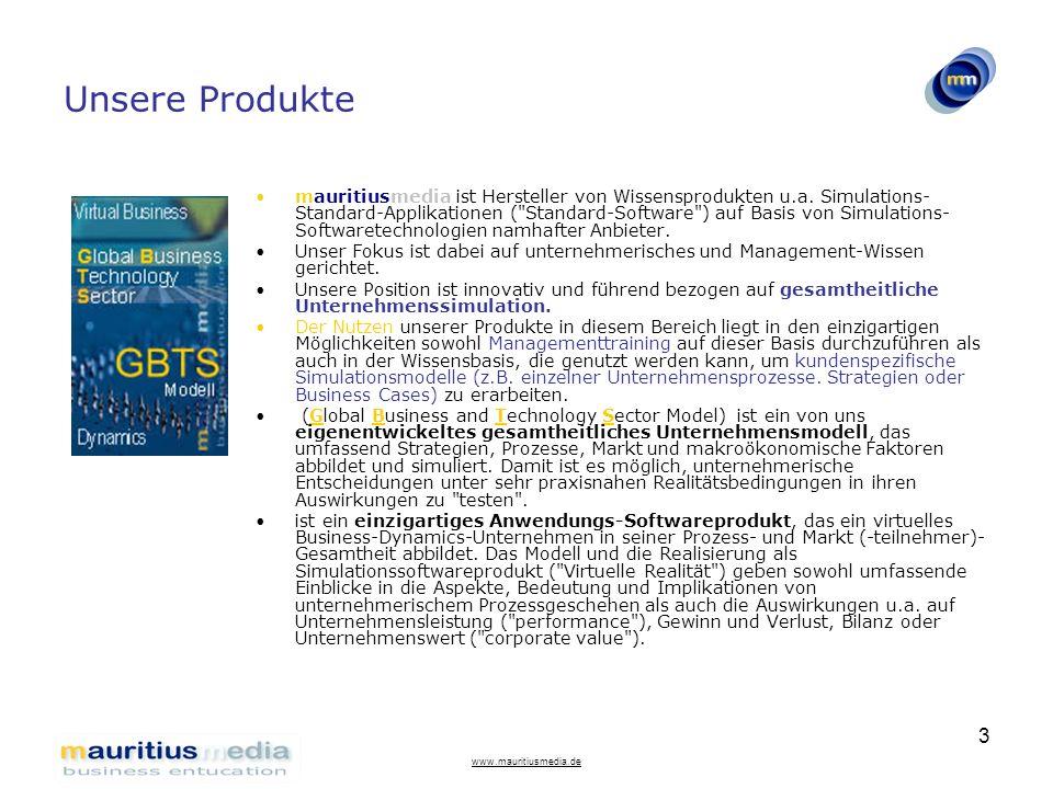 www.mauritiusmedia.de 3 Unsere Produkte mauritiusmedia ist Hersteller von Wissensprodukten u.a. Simulations- Standard-Applikationen (