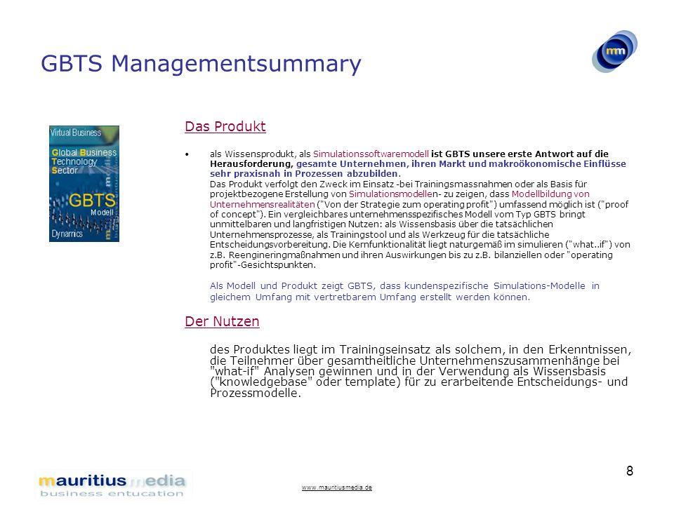 www.mauritiusmedia.de 8 GBTS Managementsummary Das Produkt als Wissensprodukt, als Simulationssoftwaremodell ist GBTS unsere erste Antwort auf die Her