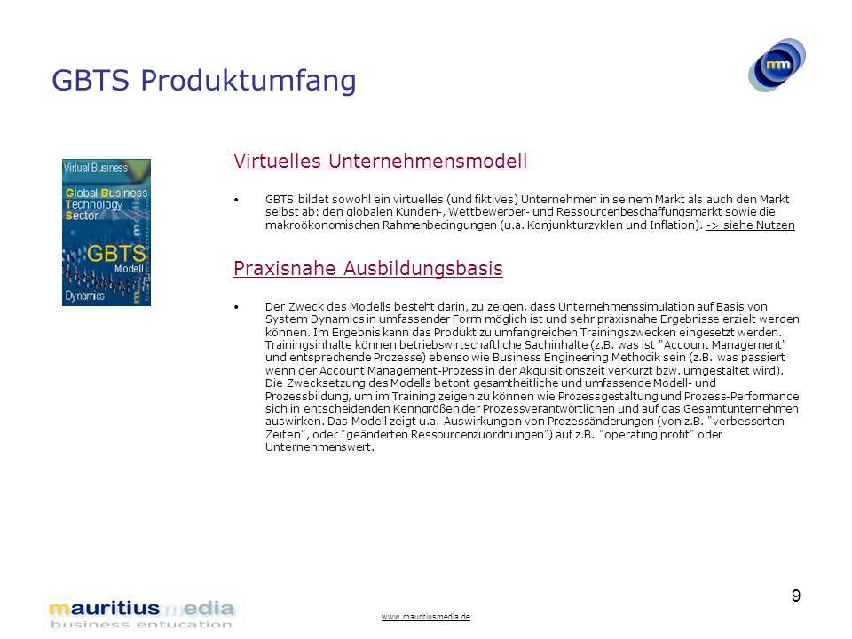 www.mauritiusmedia.de 10 GBTS Produktumfang Vollständiges System Dynamics Marktmodell GBTS ist methodisch vollständig ein System Dynamics-Modell und in ithink-Softwaretechnologie erstellt.