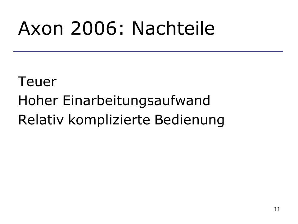 11 Axon 2006: Nachteile Teuer Hoher Einarbeitungsaufwand Relativ komplizierte Bedienung