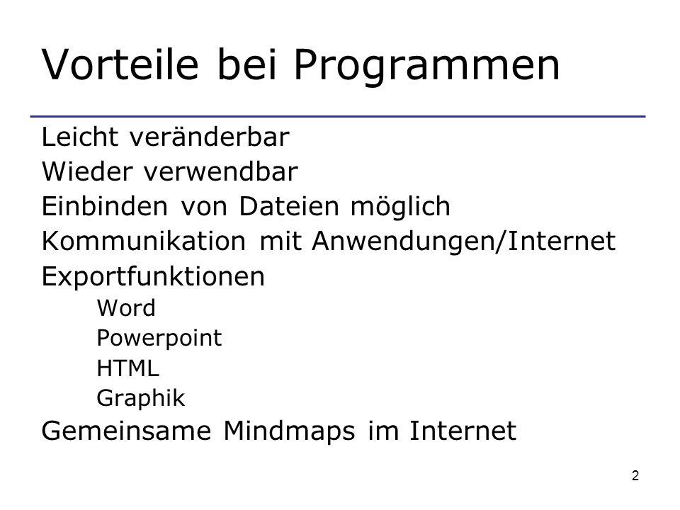 2 Vorteile bei Programmen Leicht veränderbar Wieder verwendbar Einbinden von Dateien möglich Kommunikation mit Anwendungen/Internet Exportfunktionen Word Powerpoint HTML Graphik Gemeinsame Mindmaps im Internet