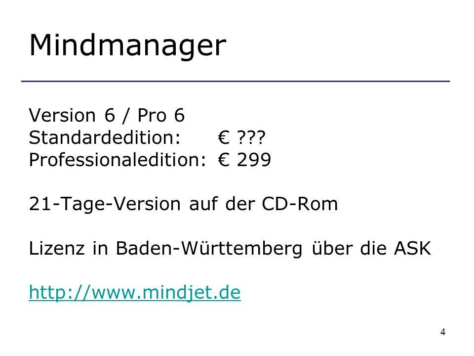 4 Mindmanager Version 6 / Pro 6 Standardedition: ??? Professionaledition: 299 21-Tage-Version auf der CD-Rom Lizenz in Baden-Württemberg über die ASK