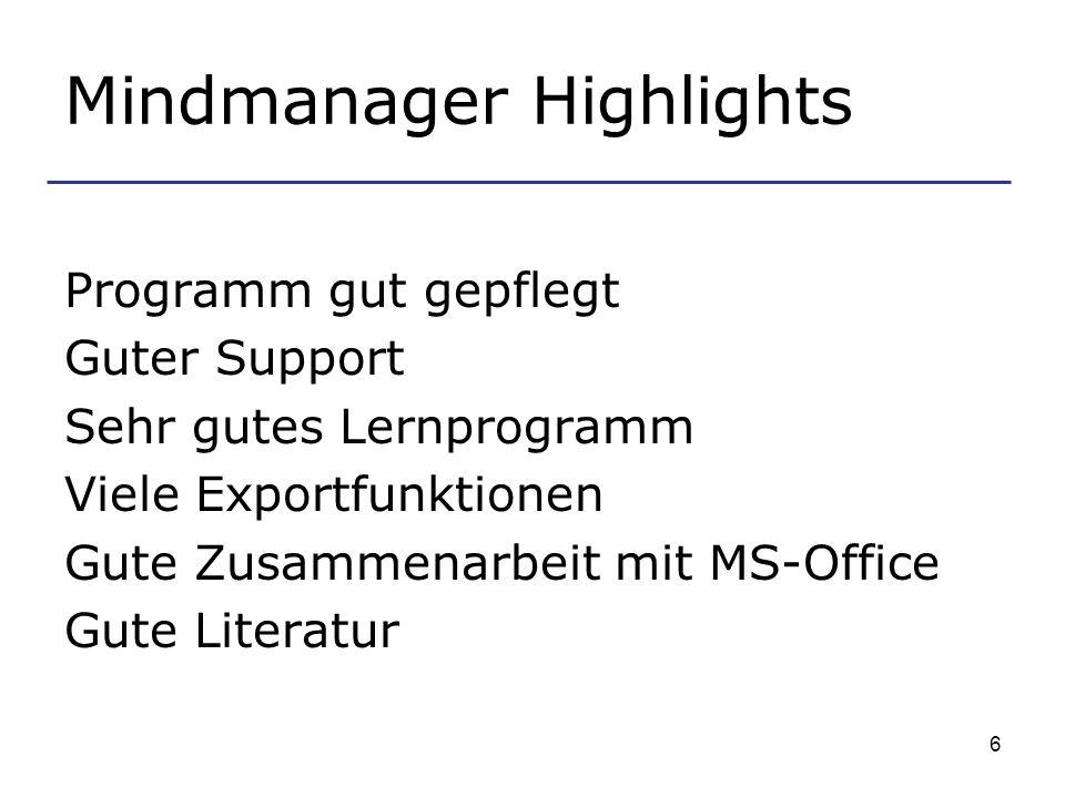 6 Mindmanager Highlights Programm gut gepflegt Guter Support Sehr gutes Lernprogramm Viele Exportfunktionen Gute Zusammenarbeit mit MS-Office Gute Literatur