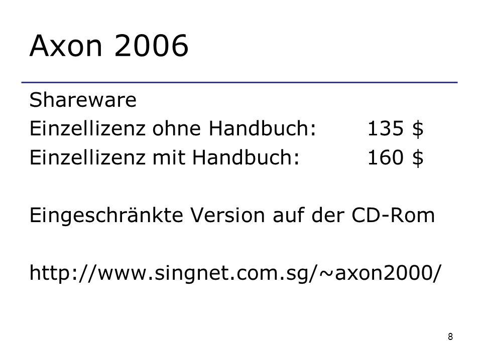 8 Axon 2006 Shareware Einzellizenz ohne Handbuch: 135 $ Einzellizenz mit Handbuch: 160 $ Eingeschränkte Version auf der CD-Rom http://www.singnet.com.sg/~axon2000/