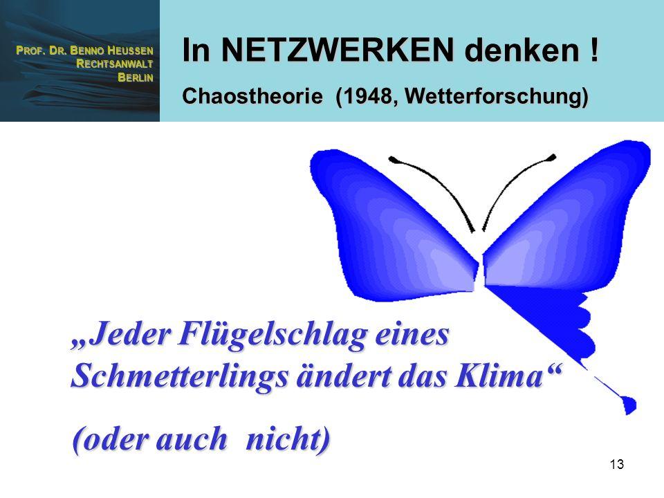 P ROF. D R. B ENNO H EUSSEN R ECHTSANWALT B ERLIN 13 In NETZWERKEN denken ! Chaostheorie (1948, Wetterforschung) Jeder Flügelschlag eines Schmetterlin