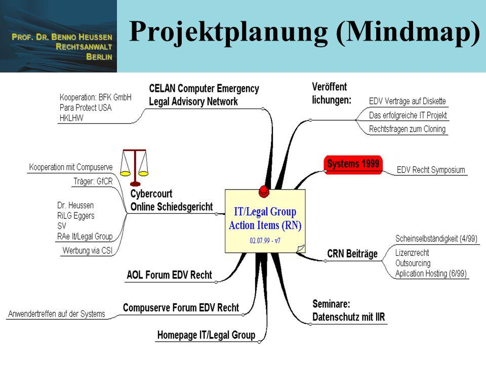 P ROF. D R. B ENNO H EUSSEN R ECHTSANWALT B ERLIN 30 Projektplanung (Mindmap)