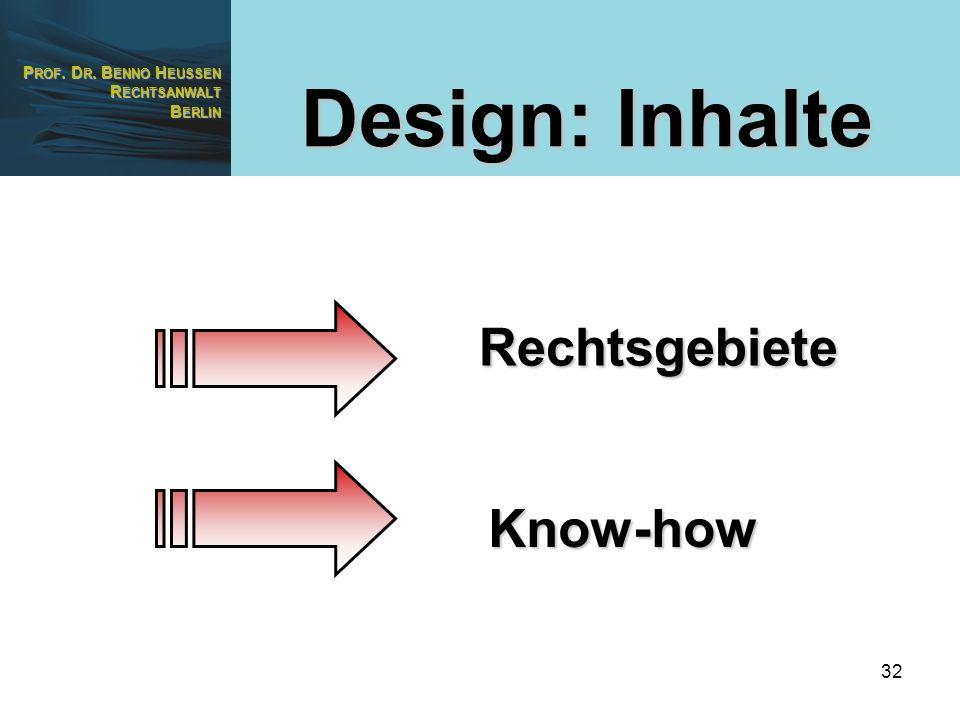 P ROF. D R. B ENNO H EUSSEN R ECHTSANWALT B ERLIN 32 Design: Inhalte Rechtsgebiete Know-how