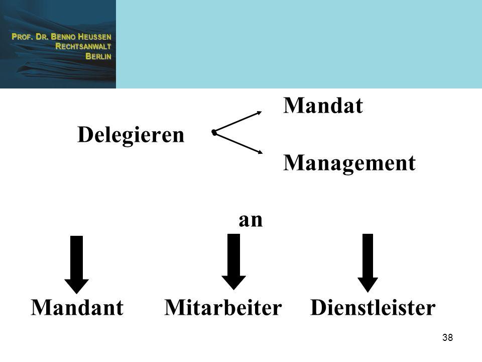 P ROF. D R. B ENNO H EUSSEN R ECHTSANWALT B ERLIN 38 Mandat Delegieren Management an Mandant Mitarbeiter Dienstleister