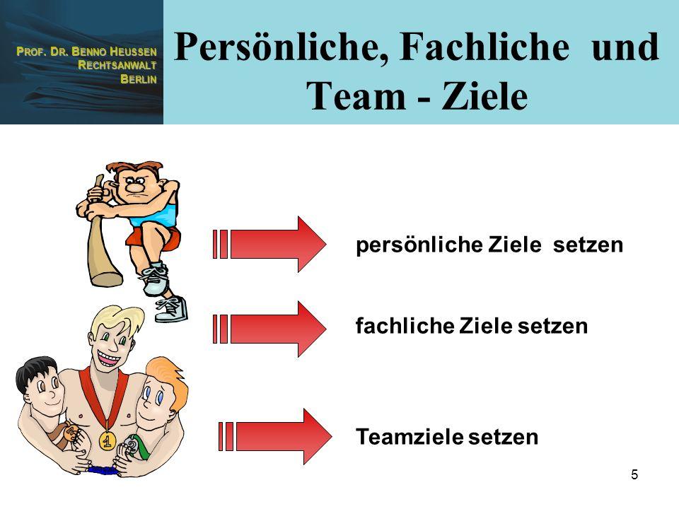 P ROF. D R. B ENNO H EUSSEN R ECHTSANWALT B ERLIN 5 persönliche Ziele setzen fachliche Ziele setzen Teamziele setzen Persönliche, Fachliche und Team -