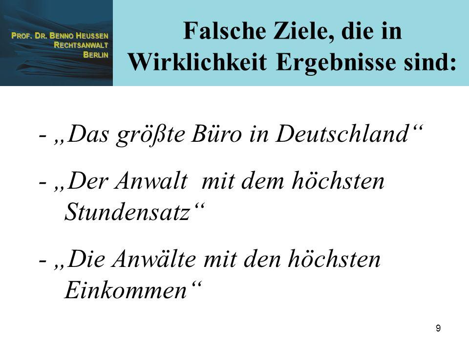 P ROF. D R. B ENNO H EUSSEN R ECHTSANWALT B ERLIN 9 - Das größte Büro in Deutschland - Der Anwalt mit dem höchsten Stundensatz - Die Anwälte mit den h