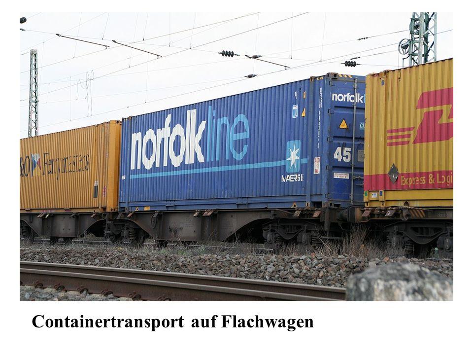 Containertransport auf Flachwagen