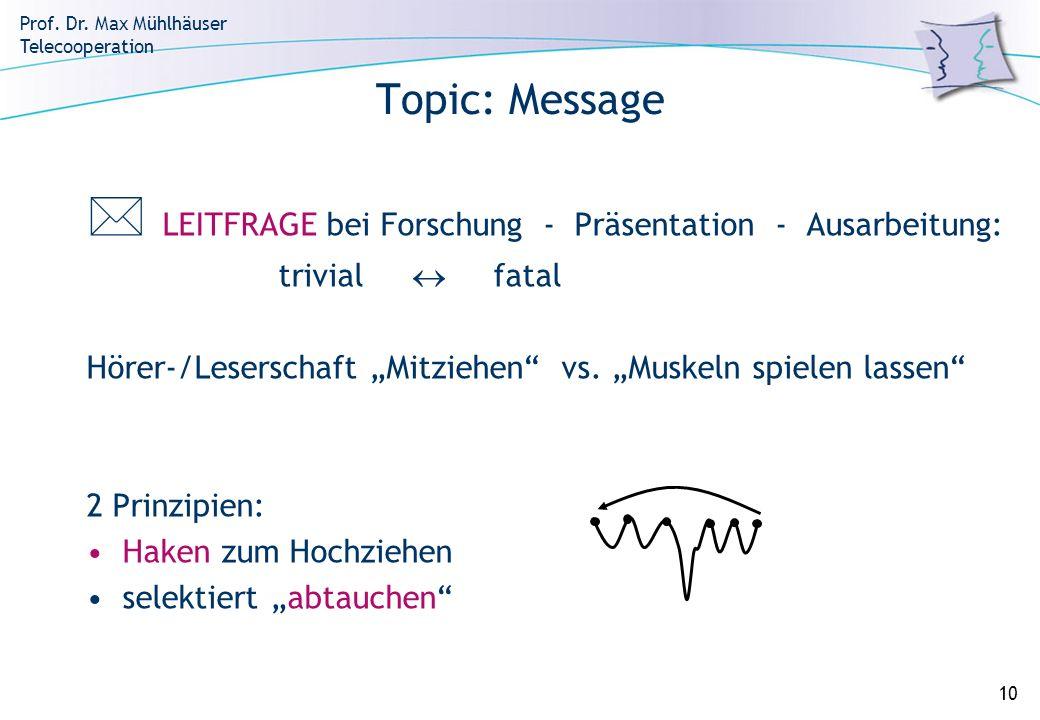 Prof. Dr. Max Mühlhäuser Telecooperation 10 Topic: Message LEITFRAGE bei Forschung - Präsentation - Ausarbeitung: trivial fatal Hörer-/Leserschaft Mit