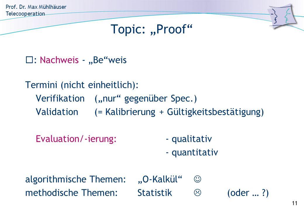Prof. Dr. Max Mühlhäuser Telecooperation 11 Topic: Proof : Nachweis - Beweis Termini (nicht einheitlich): Verifikation(nur gegenüber Spec.) Validation