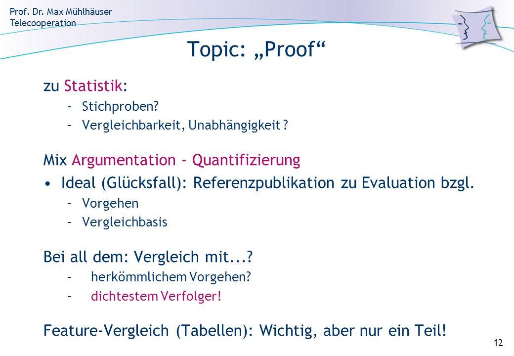 Prof. Dr. Max Mühlhäuser Telecooperation 12 Topic: Proof zu Statistik: –Stichproben? –Vergleichbarkeit, Unabhängigkeit ? Mix Argumentation - Quantifiz