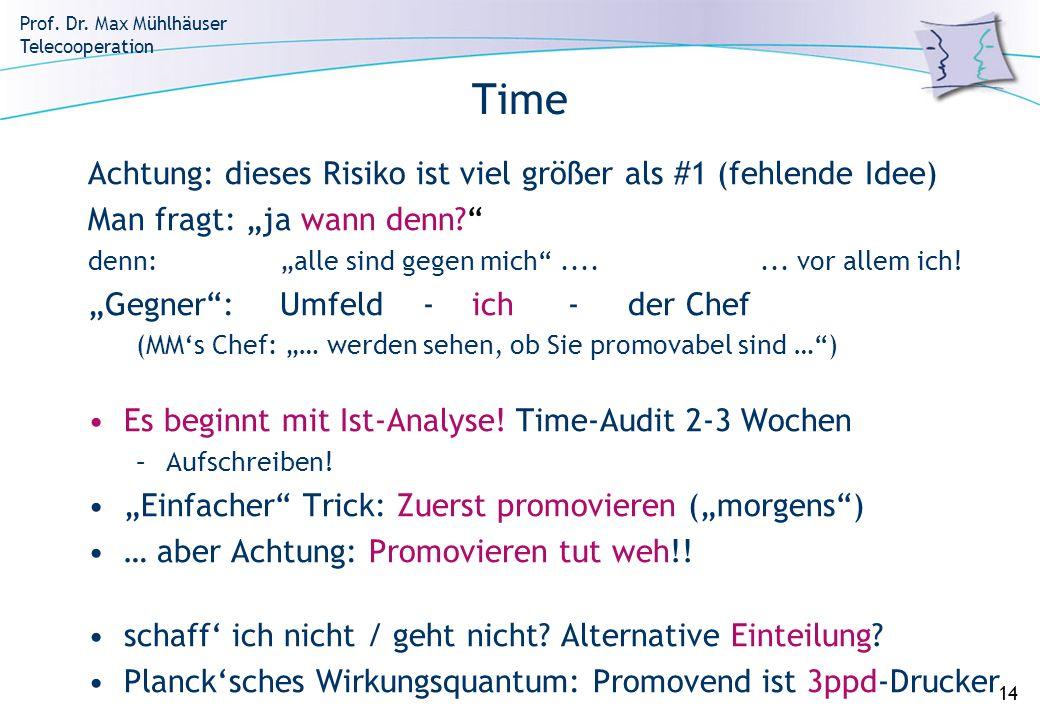Prof. Dr. Max Mühlhäuser Telecooperation 14 Time Achtung: dieses Risiko ist viel größer als #1 (fehlende Idee) Man fragt: ja wann denn? denn:alle sind