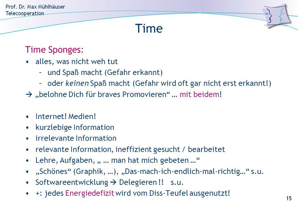 Prof. Dr. Max Mühlhäuser Telecooperation 15 Time Time Sponges: alles, was nicht weh tut –und Spaß macht (Gefahr erkannt) –oder keinen Spaß macht (Gefa