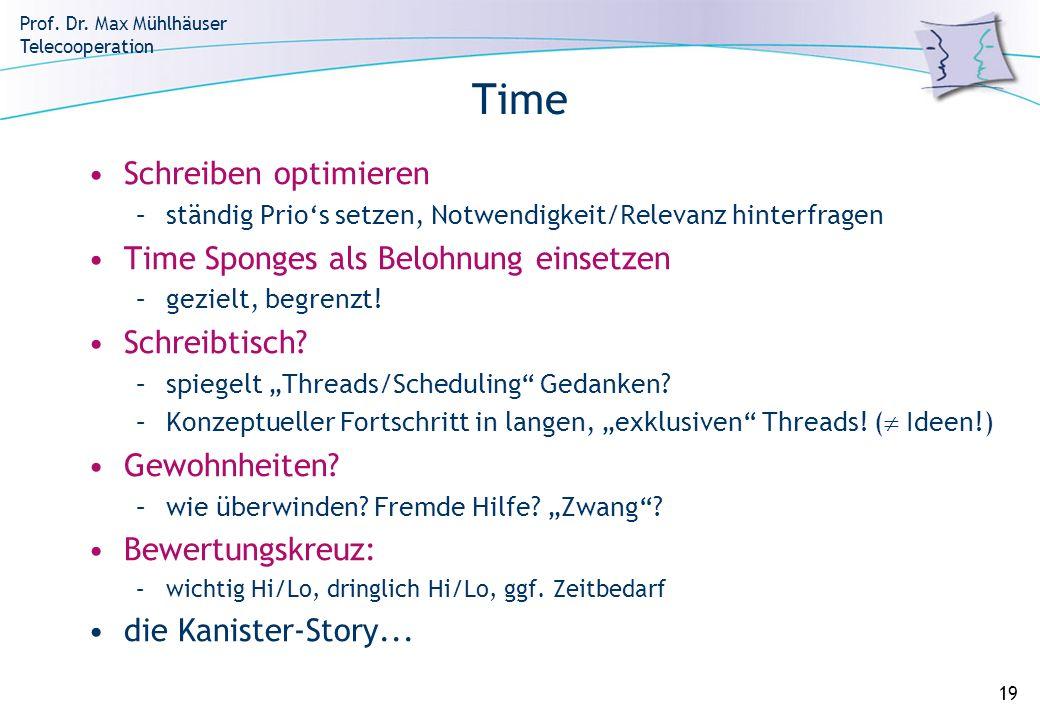 Prof. Dr. Max Mühlhäuser Telecooperation 19 Time Schreiben optimieren –ständig Prios setzen, Notwendigkeit/Relevanz hinterfragen Time Sponges als Belo