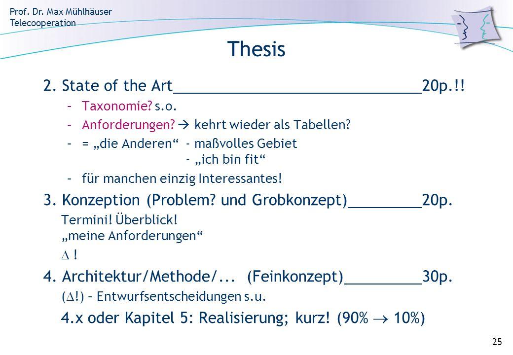 Prof. Dr. Max Mühlhäuser Telecooperation 25 Thesis 2. State of the Art20p.!! –Taxonomie? s.o. –Anforderungen? kehrt wieder als Tabellen? –= die Andere