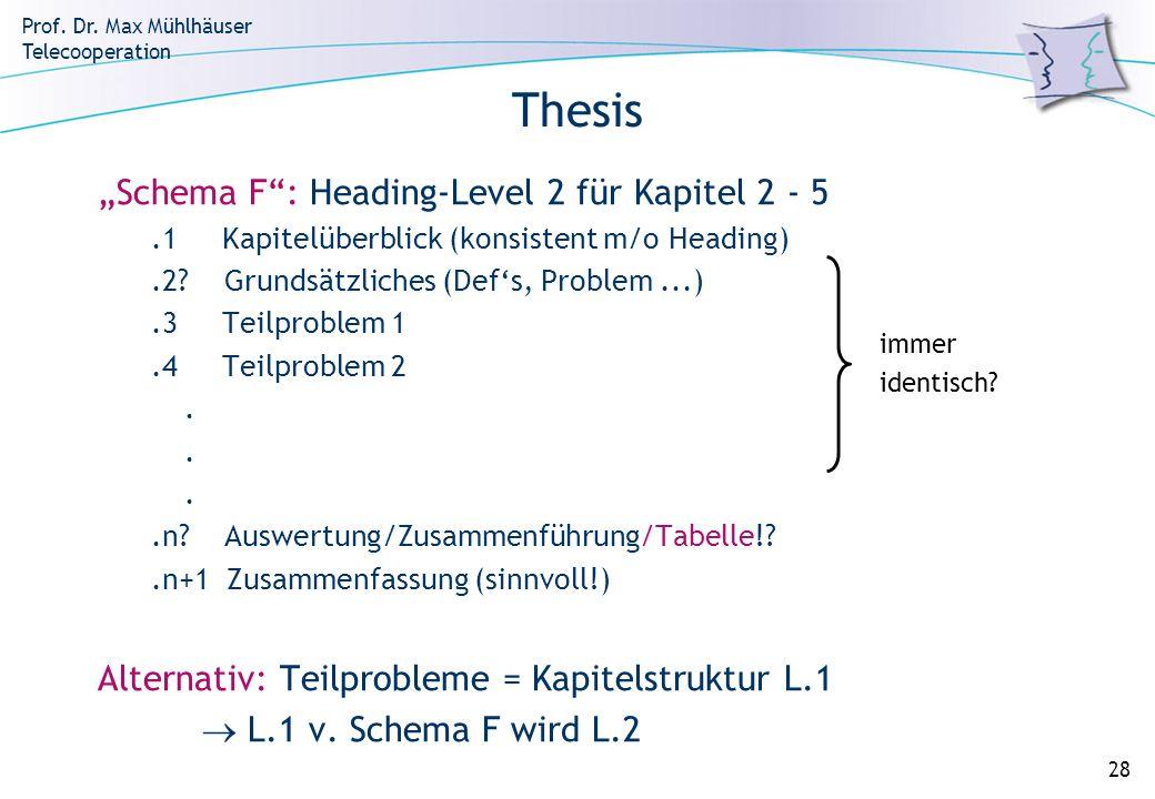 Prof. Dr. Max Mühlhäuser Telecooperation 28 Thesis Schema F: Heading-Level 2 für Kapitel 2 - 5.1 Kapitelüberblick (konsistent m/o Heading).2? Grundsät