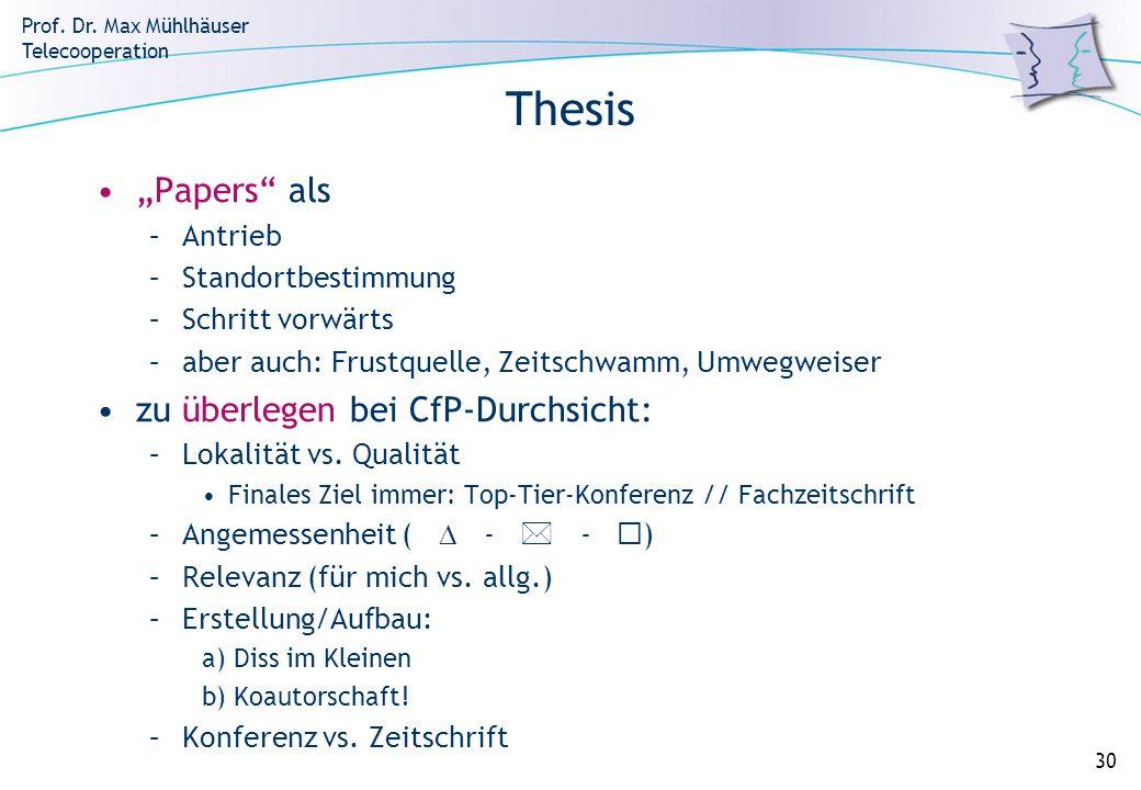 Prof. Dr. Max Mühlhäuser Telecooperation 30 Thesis Papers als –Antrieb –Standortbestimmung –Schritt vorwärts –aber auch: Frustquelle, Zeitschwamm, Umw
