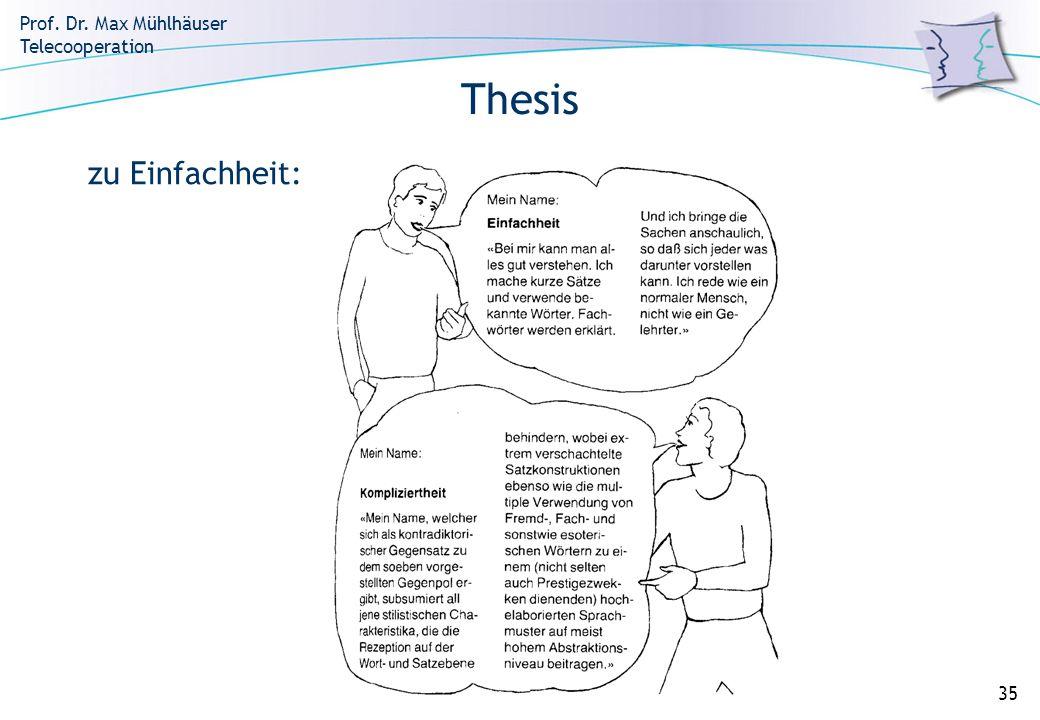 Prof. Dr. Max Mühlhäuser Telecooperation 35 Thesis zu Einfachheit: