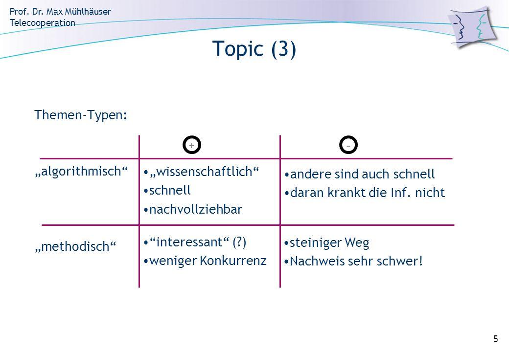Prof. Dr. Max Mühlhäuser Telecooperation 5 Topic (3) Themen-Typen: algorithmisch methodisch +- wissenschaftlich schnell nachvollziehbar andere sind au