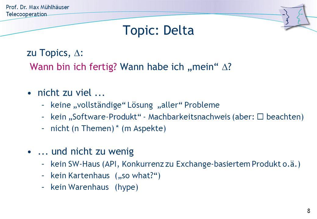 Prof. Dr. Max Mühlhäuser Telecooperation 8 Topic: Delta zu Topics, : Wann bin ich fertig? Wann habe ich mein ? nicht zu viel... –keine vollständige Lö