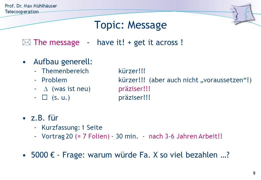 Prof. Dr. Max Mühlhäuser Telecooperation 9 Topic: Message The message - have it! + get it across ! Aufbau generell: –Themenbereichkürzer!!! –Problemkü