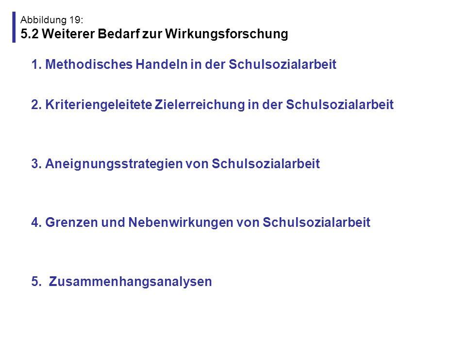Abbildung 19: 5.2 Weiterer Bedarf zur Wirkungsforschung 1. Methodisches Handeln in der Schulsozialarbeit (z.B. Rollenausbalancierung, professionelle H