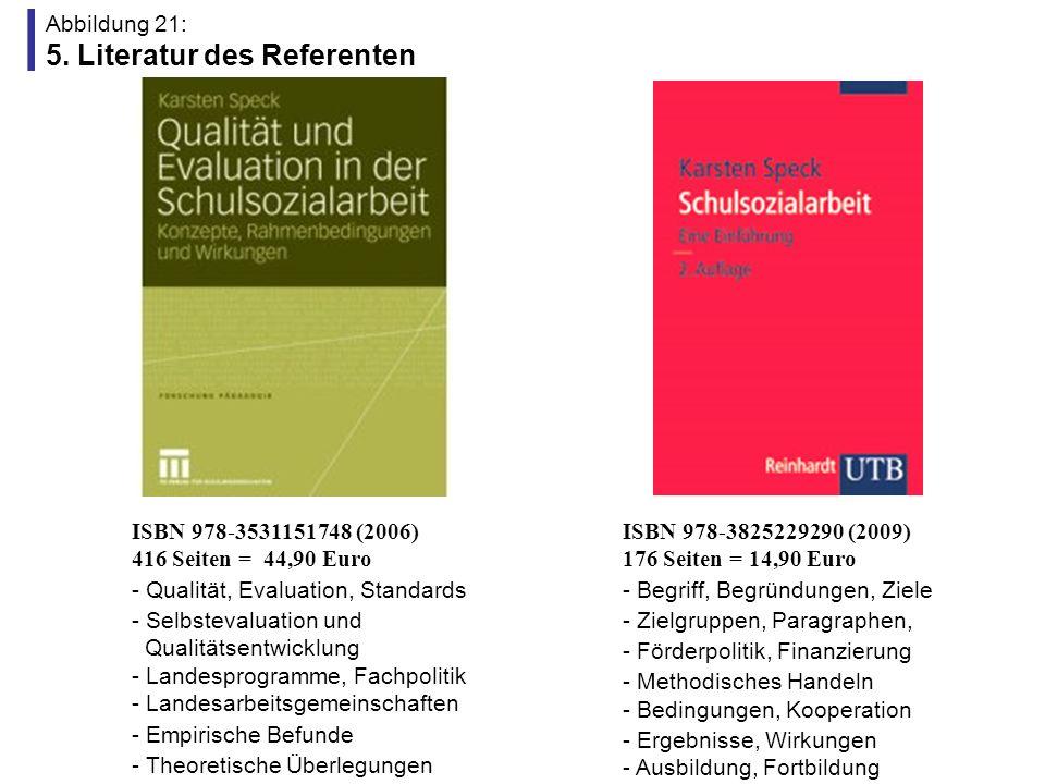 Abbildung 21: 5. Literatur des Referenten ISBN 978-3531151748 (2006) 416 Seiten = 44,90 Euro - Qualität, Evaluation, Standards - Selbstevaluation und