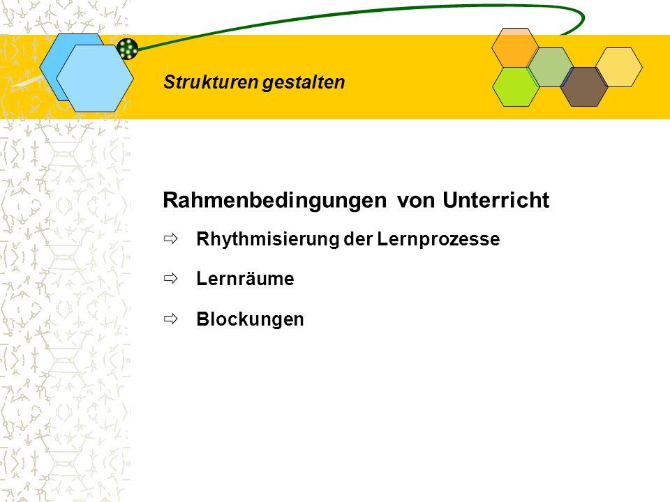 Rahmenbedingungen von Unterricht Rhythmisierung der Lernprozesse Lernräume Blockungen Strukturen gestalten