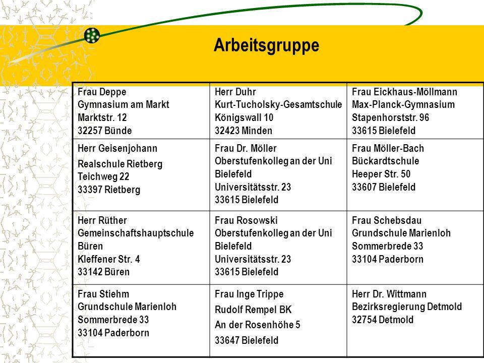 Arbeitsgruppe Frau Deppe Gymnasium am Markt Marktstr. 12 32257 Bünde Herr Duhr Kurt-Tucholsky-Gesamtschule Königswall 10 32423 Minden Frau Eickhaus-Mö