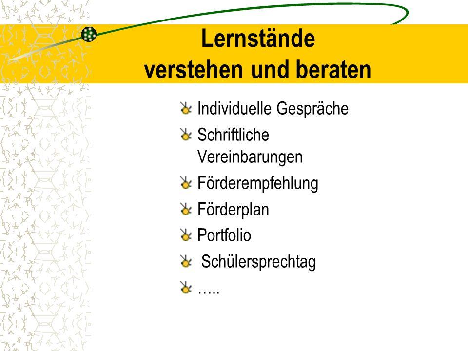 Lernstände verstehen und beraten Individuelle Gespräche Schriftliche Vereinbarungen Förderempfehlung Förderplan Portfolio Schülersprechtag …..