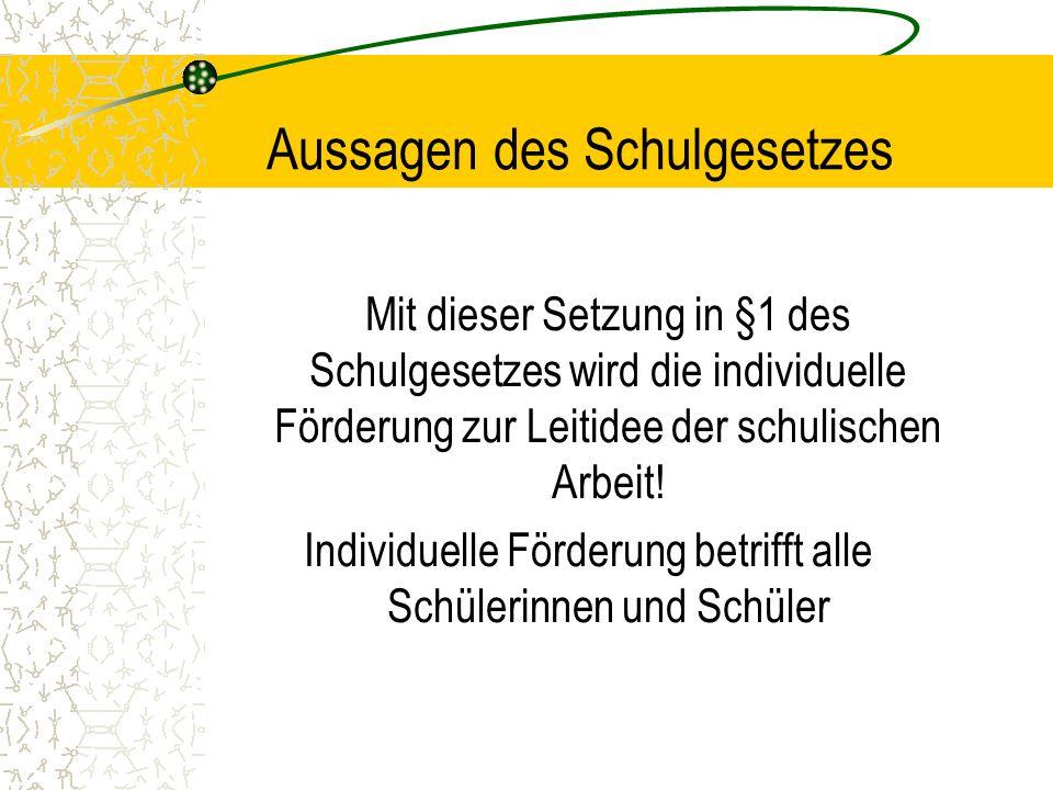 Aussagen des Schulgesetzes Mit dieser Setzung in §1 des Schulgesetzes wird die individuelle Förderung zur Leitidee der schulischen Arbeit! Individuell