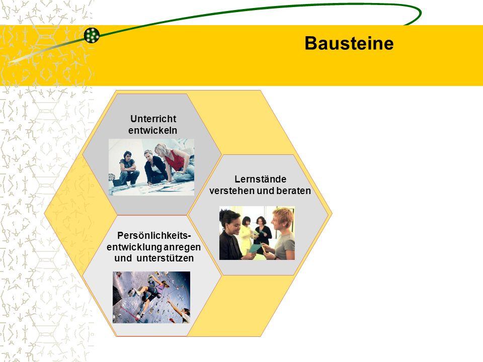 Fünf Bausteine Kooperieren Unterricht entwickeln Lernstände verstehen und beraten Persönlichkeits- entwicklung anregen und unterstützen Strukturen gestalten