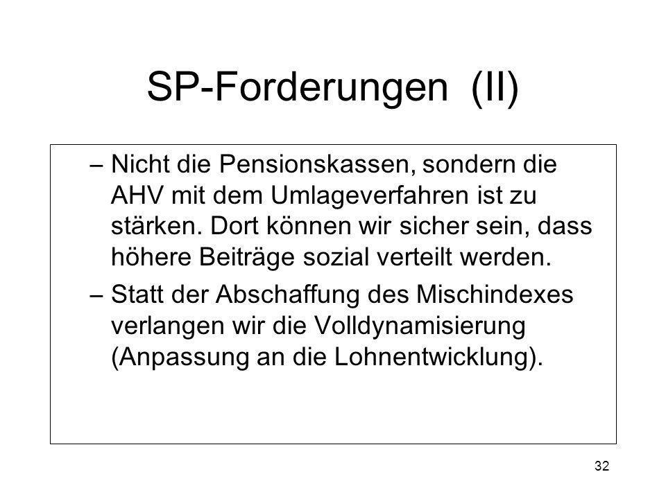 32 SP-Forderungen (II) –Nicht die Pensionskassen, sondern die AHV mit dem Umlageverfahren ist zu stärken. Dort können wir sicher sein, dass höhere Bei