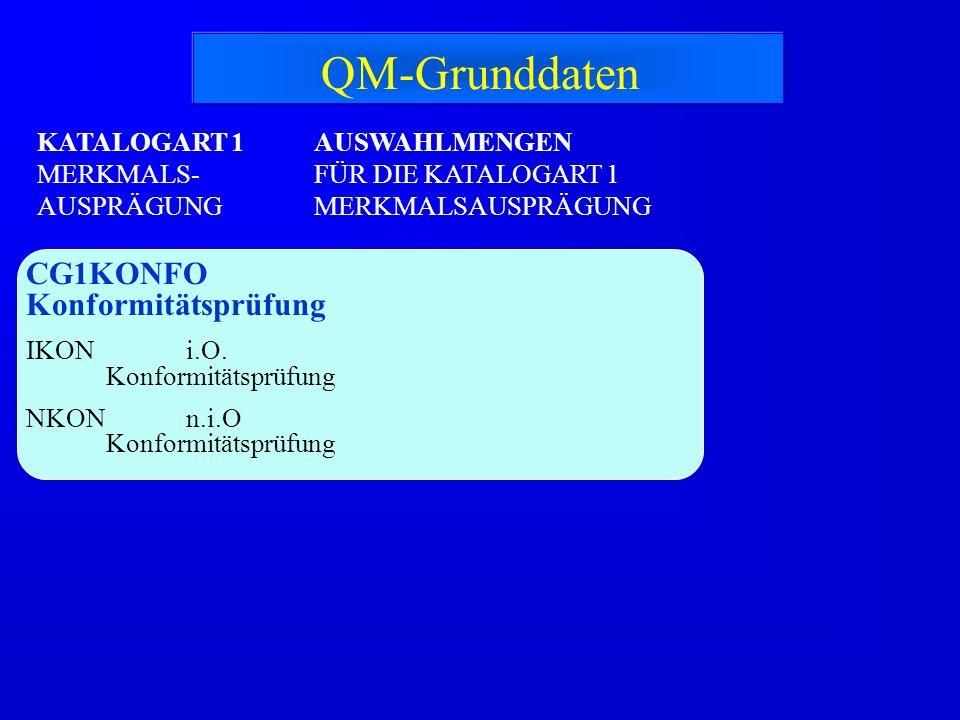 KATALOGART 1 MERKMALS- AUSPRÄGUNG CG1KONFO Konformitätsprüfung IKON i.O. Konformitätsprüfung NKON n.i.O Konformitätsprüfung AUSWAHLMENGEN FÜR DIE KATA
