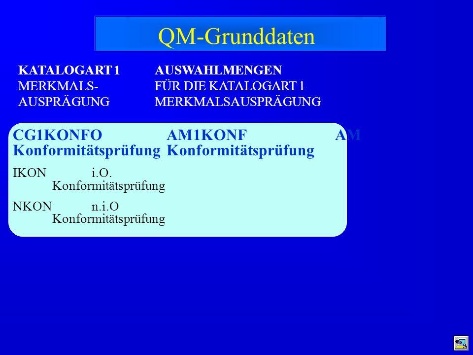 KATALOGART 1 MERKMALS- AUSPRÄGUNG CG1KONFO Konformitätsprüfung IKON i.O. Konformitätsprüfung NKON n.i.O Konformitätsprüfung AM1KONF AM Konformitätsprü