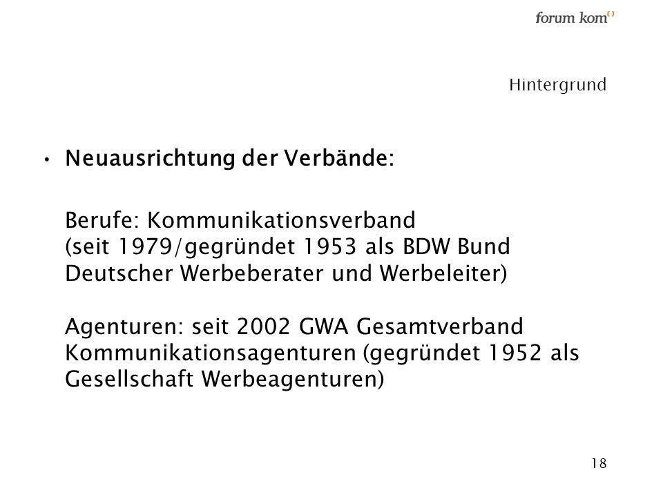 18 Hintergrund Neuausrichtung der Verbände: Berufe: Kommunikationsverband (seit 1979/gegründet 1953 als BDW Bund Deutscher Werbeberater und Werbeleite