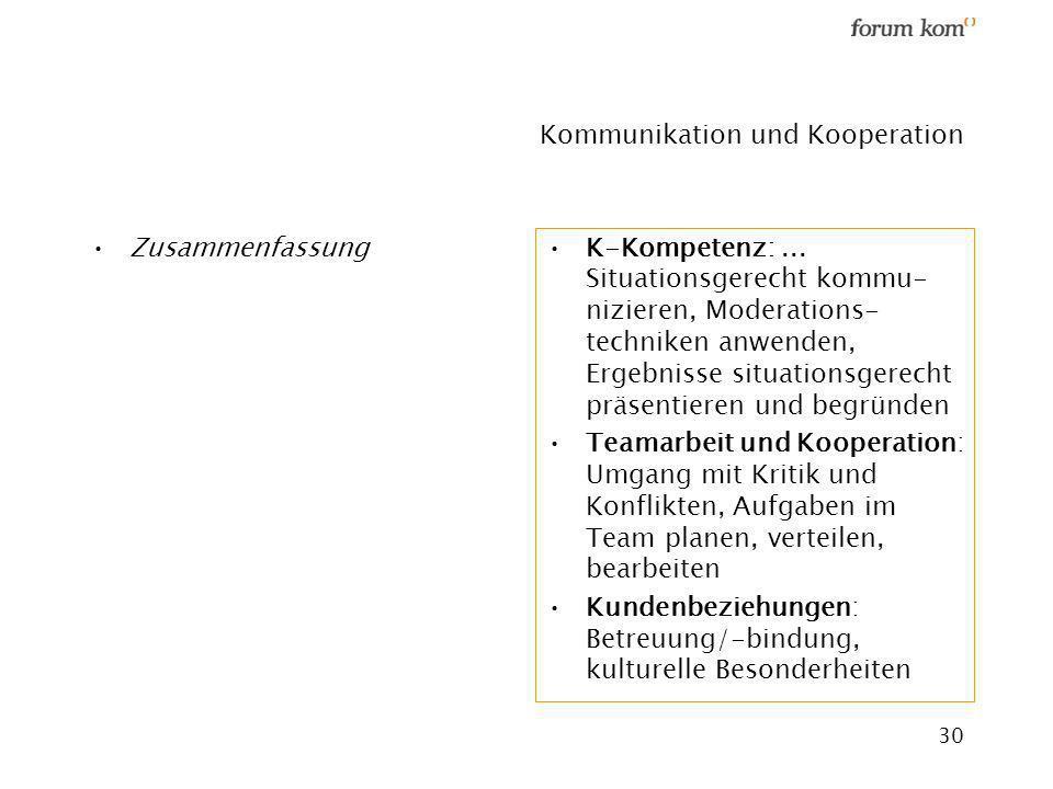 30 Kommunikation und Kooperation Zusammenfassung K-Kompetenz:... Situationsgerecht kommu- nizieren, Moderations- techniken anwenden, Ergebnisse situat