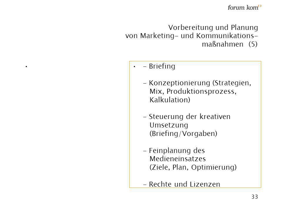 33 Vorbereitung und Planung von Marketing- und Kommunikations- maßnahmen (5) - Briefing - Konzeptionierung (Strategien, Mix, Produktionsprozess, Kalku
