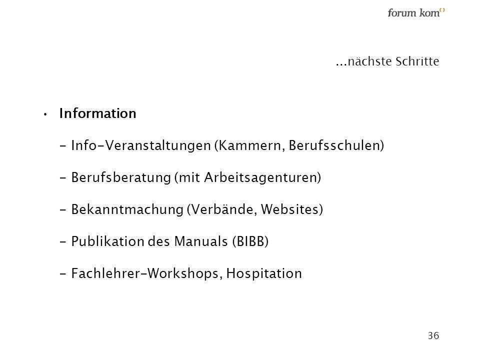 36...nächste Schritte Information - Info-Veranstaltungen (Kammern, Berufsschulen) - Berufsberatung (mit Arbeitsagenturen) - Bekanntmachung (Verbände,