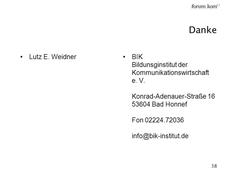 38 Danke Lutz E. WeidnerBIK Bildunsginstitut der Kommunikationswirtschaft e. V. Konrad-Adenauer-Straße 16 53604 Bad Honnef Fon 02224.72036 info@bik-in