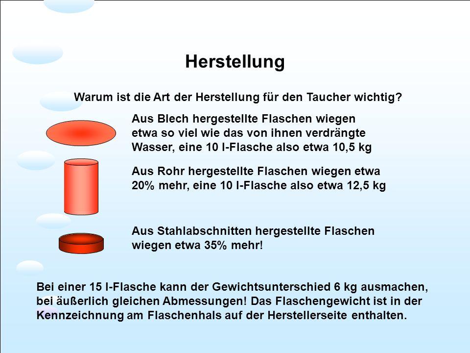 Herstellung Warum ist die Art der Herstellung für den Taucher wichtig? Aus Blech hergestellte Flaschen wiegen etwa so viel wie das von ihnen verdrängt