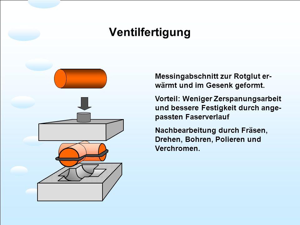 Messingabschnitt zur Rotglut er- wärmt und im Gesenk geformt. Vorteil: Weniger Zerspanungsarbeit und bessere Festigkeit durch ange- passten Faserverla