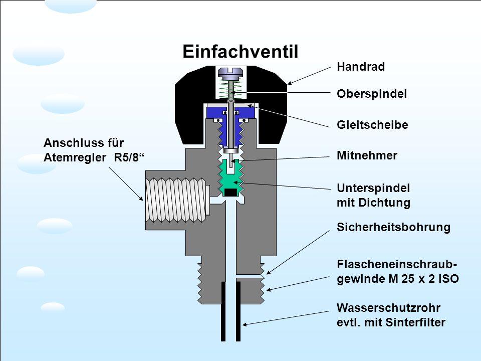 Anschluss für Atemregler R5/8 Handrad Oberspindel Gleitscheibe Mitnehmer Unterspindel mit Dichtung Sicherheitsbohrung Flascheneinschraub- gewinde M 25