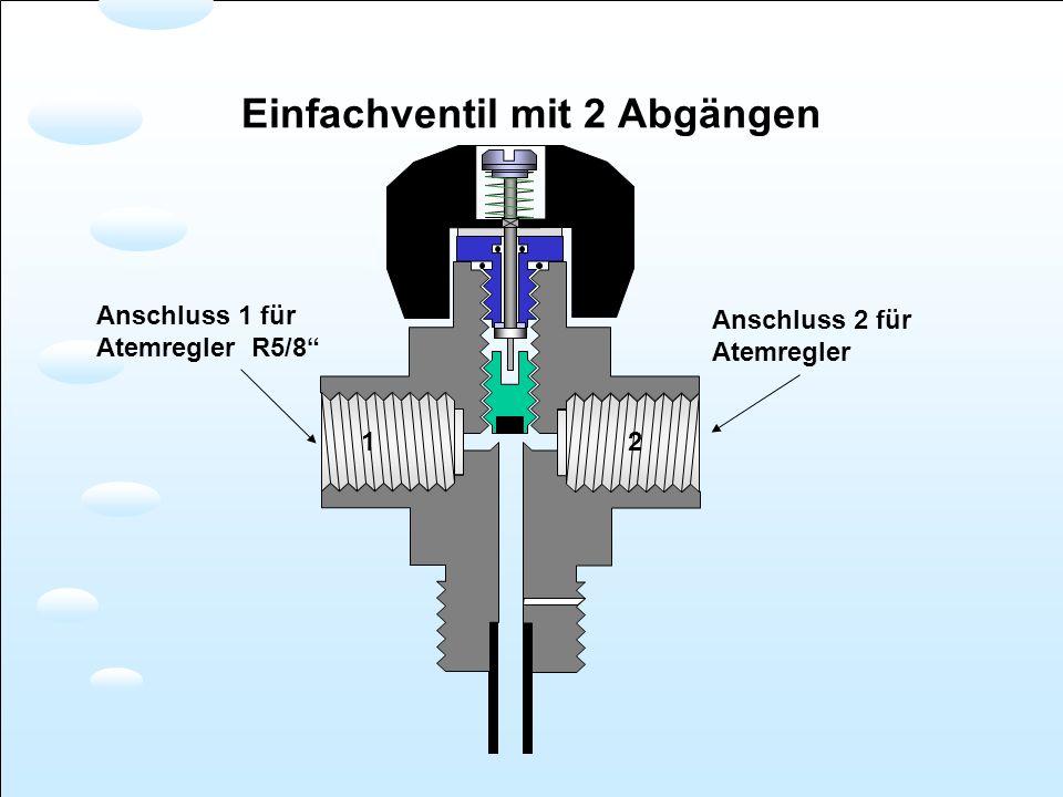 Anschluss 1 für Atemregler R5/8 12 Anschluss 2 für Atemregler Einfachventil mit 2 Abgängen