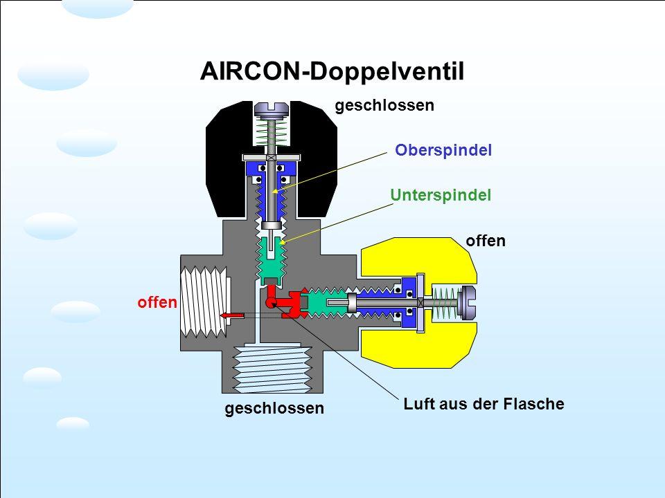 offen geschlossen Luft aus der Flasche Oberspindel Unterspindel AIRCON-Doppelventil