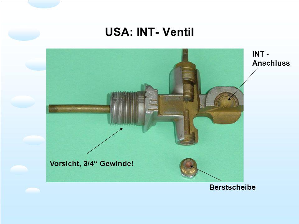 Vorsicht, 3/4 Gewinde! Berstscheibe INT - Anschluss USA: INT- Ventil